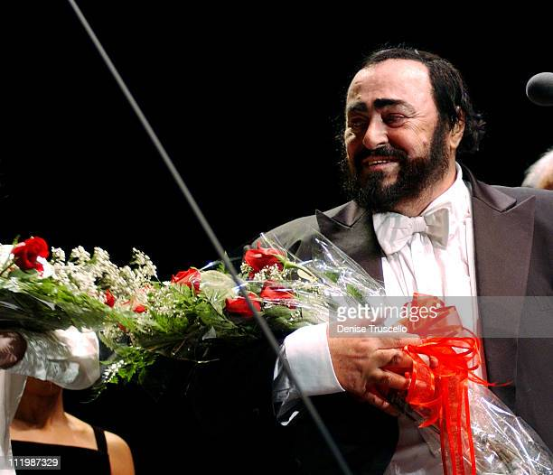 Luciano Pavarotti during Luciano Pavarotti in Farewell to Las Vegas Performance at Mandalay Bay in Las Vegas Nevada United States