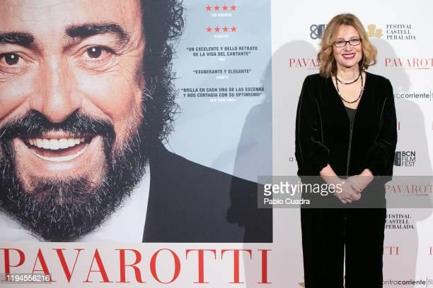 Luciano Pavarotti Foundation President Nicoletta Mantovani attends 'Pavarotti' premiere at Verdi Cinema on December 17 2019 in Madrid Spain
