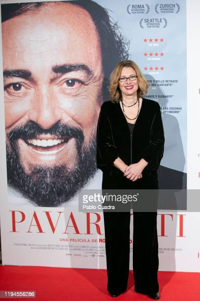 Luciano Pavarotti Foundation President Nicoletta Mantovani attends 'Pavarotti' premiere at Verdi Cinema on December 17, 2019 in Madrid, Spain.