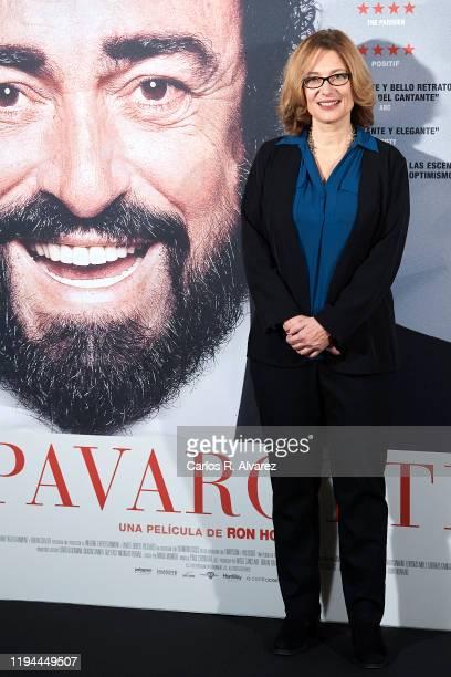 Luciano Pavarotti Foundation President Nicoletta Mantovani Pavarotti attends 'Pavarotti' photocall at the Intercontinental Hotel on December 17 2019...