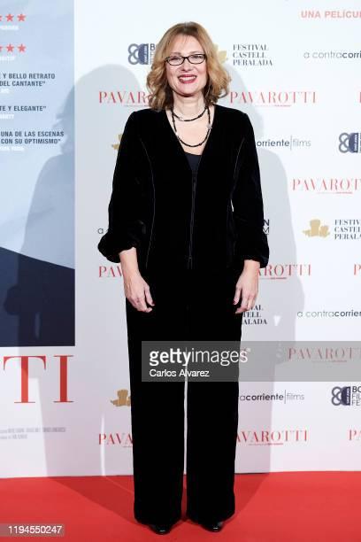 Luciano Pavarotti Foundation President Nicoletta Mantovani Pavarotti attends 'Pavarotti' premiere at the Verdi cinema on December 17 2019 in Madrid...