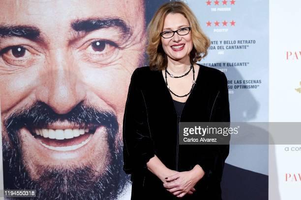 Luciano Pavarotti Foundation President Nicoletta Mantovani Pavarotti attends 'Pavarotti' premiere at the Verdi cinema on December 17, 2019 in Madrid,...
