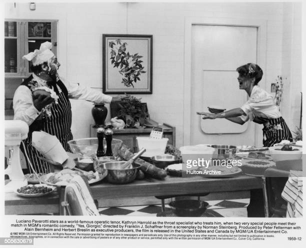 Luciano Pavarotti has a pie throwing fight with Kathryn Harrold in a scene from the movie Yes Giorgio circa 1982