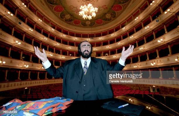Luciano Pavarotti inside Modena Municipal Theatre where he will marry Nicoletta Mantovani on December 13th 2003