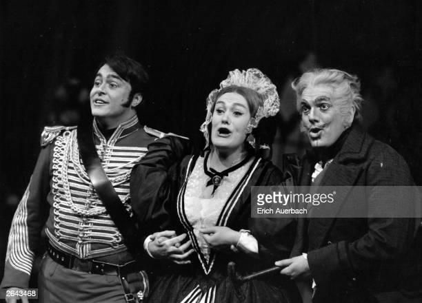 Luciano Pavarotti Italian tenor Joan Sutherland the Australian soprano and Spiro Malas in Donizetti's 'La Fille du Regiment' at Covent Garden Opera...