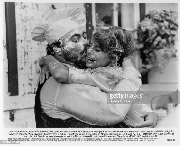 Luciano Pavarotti kisses Kathryn Harrold in a scene from the movie Yes Giorgio circa 1982
