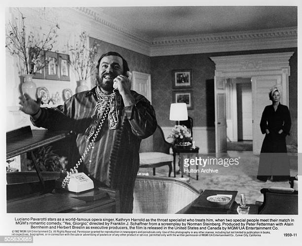 Luciano Pavarotti on the phone in a scene from the movie 'Yes Giorgio' circa 1982