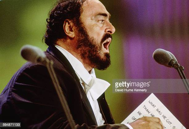 Luciano Pavarotti performs at The Three Tenors concert at Dodger Stadium July 16 1994 in Los Angeles The concert is programmed to coincide with the...