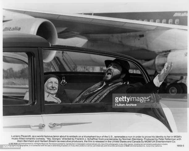 Luciano Pavarotti serenade a nun in a scene from the movie Yes Giorgio circa 1982
