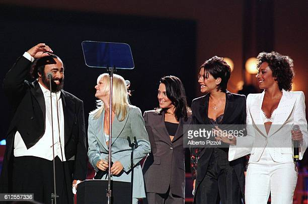 Luciano Pavarotti the Spice Girls during the gala concert to benefit children in Liberia