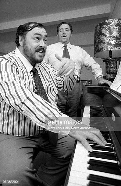 Luciano Pavarotti Warms up with his father Fernando at the Metropolitan Opera