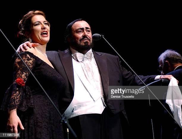Luciano Pavarotti With Annalisa Raspagliosi during Luciano Pavarotti in Farewell to Las Vegas Performance at Mandalay Bay in Las Vegas Nevada United...