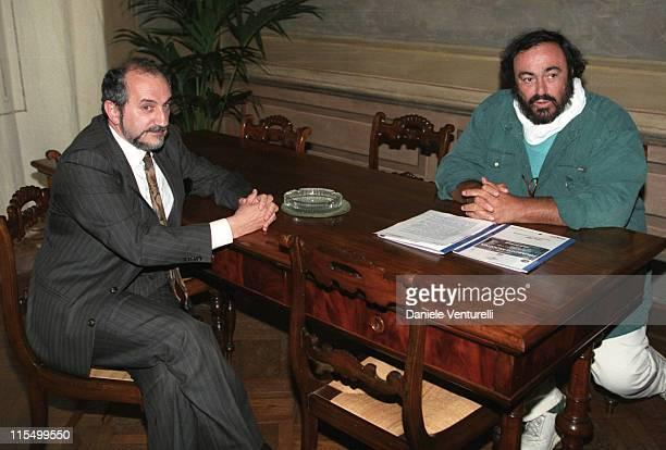 Luciano Pavarotti with Modena Mayor Giuliano Barbolino who will celebrate Pavarotti's wedding on December 13th 2003