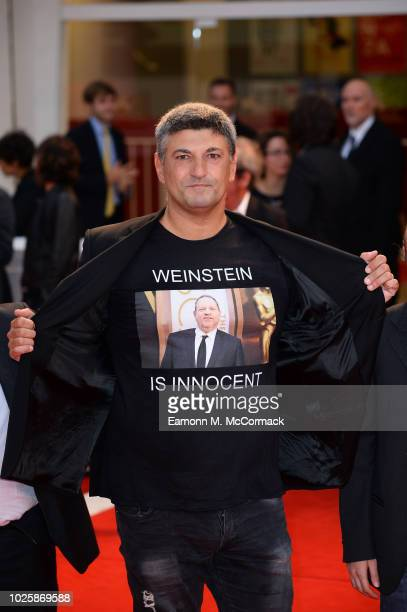 Luciano Silighini protests on the red carpet ahead of the 'Suspiria' screening during the 75th Venice Film Festival at Sala Grande on September 1...