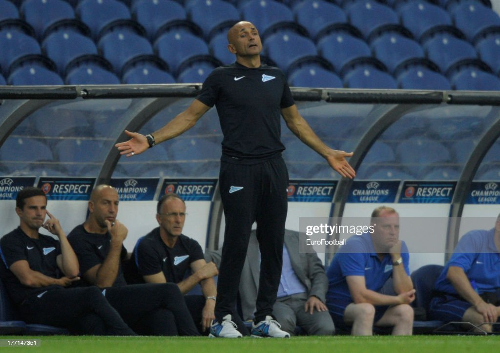 Luciano Spalletti, coach of FC Zenit St Petersburg during the UEFA Champions League play-off first leg match between FC Pacos de Ferreira and FC Zenit St Petersburg held on August 20, 2013 at the Estadio do Dragao, in Porto, Portugal.