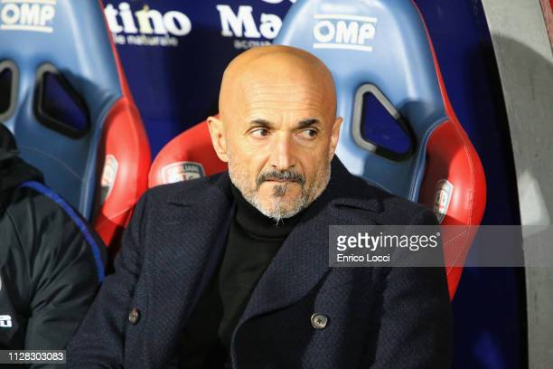 Luciano Spalletti coach of Inter looks on during the Serie A match between Cagliari and FC Internazionale at Sardegna Arena on March 1 2019 in...