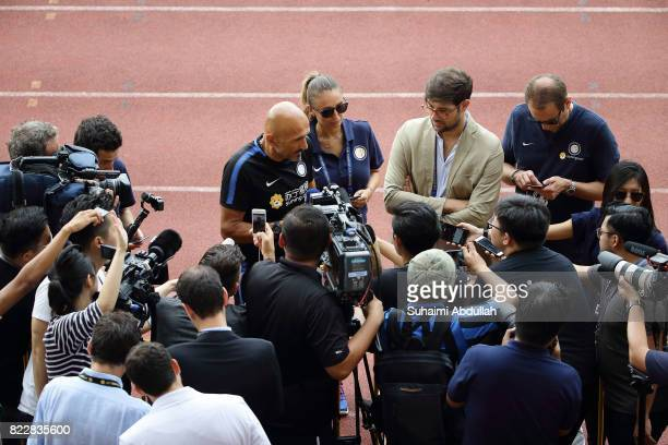 Luciano Spalletti manager of FC Inter Milan gives a door stop interview during an International Champions Cup FC Inter Milan training session at...