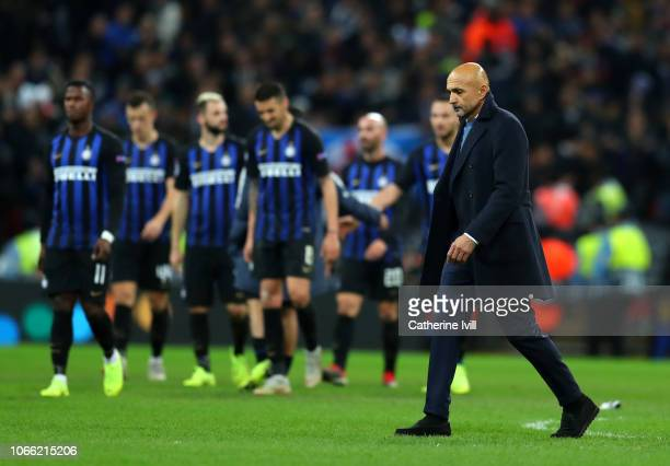 Luciano Spalletti Manager of Inter Milan looks dejected following his team's defeat following the UEFA Champions League Group B match between...