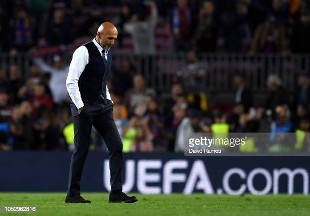 Luciano Spalletti Manager of Inter Milan looks dejected following defeat in the Group B match of the UEFA Champions League between FC Barcelona and...