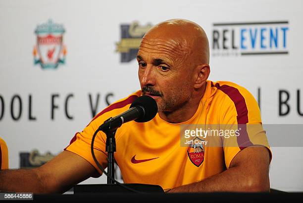 Luciano Spalletti of AS Roma talks with the media after a friendly match against Liverpool FC at Busch Stadium on August 1 2016 in St Louis Missouri...