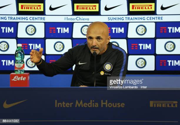 Luciano Spalletti speaks with a media during as FC Interrnazionale press conference at Appiano Gentile on December 2 2017 in Como Italy