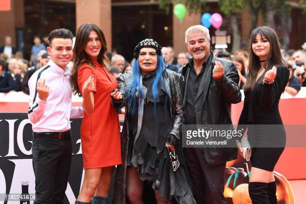 Luciano Spinelli Virginia Raffaele Loredana Berte Pino Insegno and Eleonora Gaggero attend the red carpet of the movie La Famiglia Addams during the...