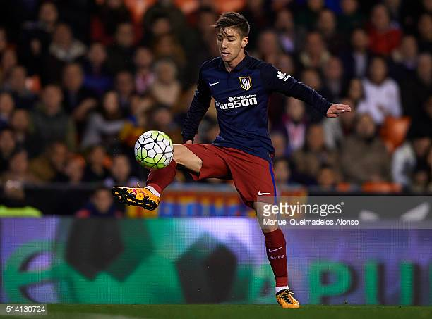 Luciano Vietto of Atletico de Madrid controls the ball during the La Liga match between Valencia CF and Atletico de Madrid at Estadi de Mestalla on...