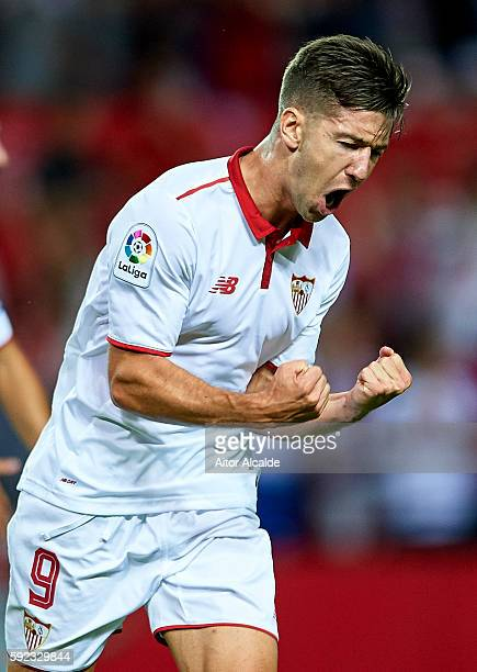Luciano Vietto of Sevilla FC celebrates after scoring during the match between Sevilla FC vs RCD Espanyol as part of La Liga at Estadio Ramon Sanchez...