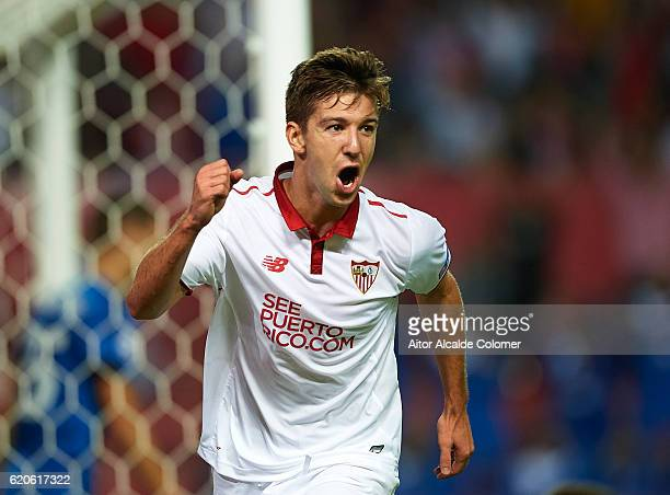 Luciano Vietto of Sevilla FC celebrates after scoring during the UEFA Champions League match between Sevilla FC vs GNK Dinamo Zagreb at the Sanchez...