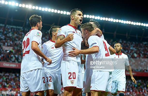 Luciano Vietto of Sevilla FC celebrates after scoring with his tea mate Victor Machin Perez 'Vitolo'during the match between Sevilla FC vs RCD...