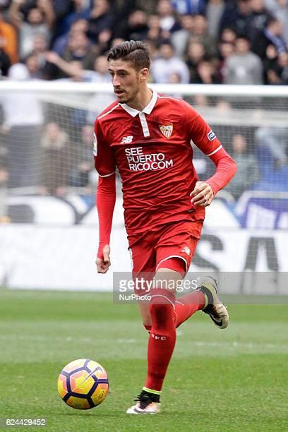 Luciano Vietto of Sevilla FC drives the ball during the La Liga Santander match between Real Club Deportivo de La Coruña vs Sevilla FC at Estadio...