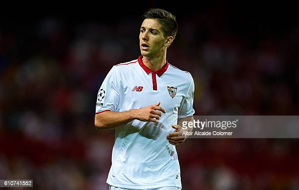 Luciano Vietto of Sevilla FC looks on during the UEFA Champions League match between Sevilla FC and Olympique Lyonnais at Sanchez Pizjuan stadium on...