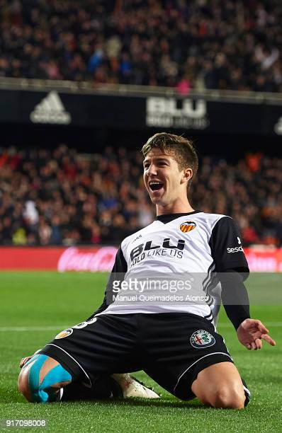 Luciano Vietto of Valencia celebrates after scoring his sides second goal during the La Liga match between Valencia and Levante at Mestalla Stadium...