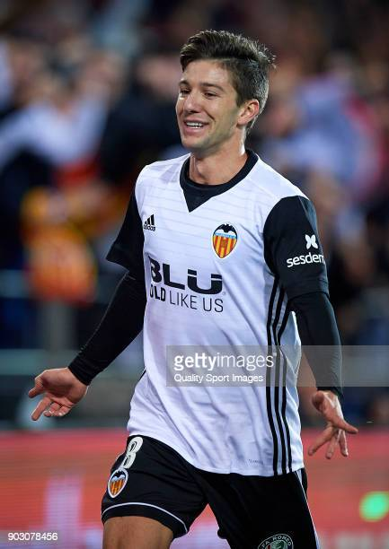 Luciano Vietto of Valencia celebrates after scoring the first goal during the Copa Del Rey 2nd leg match between Valencia and Las Palmas at Mestalla...