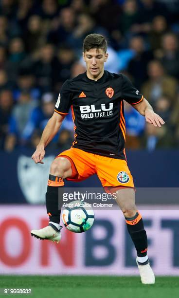 Luciano Vietto of Valencia CF controls the ball during the La Liga match between Malaga CF and Valencia CF at Estadio La Rosaleda on February 17 2018...