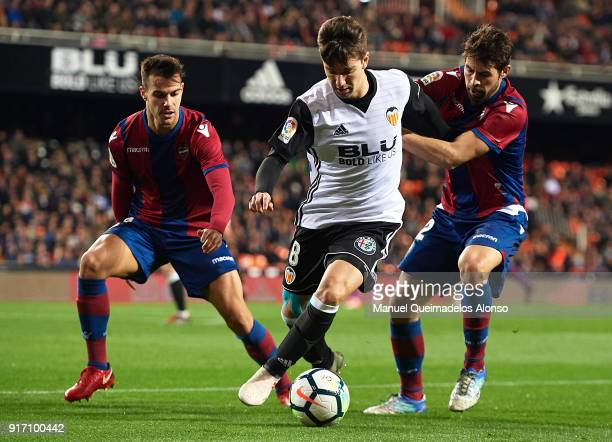 Luciano Vietto of Valencia competes for the ball with Coke of Levante during the La Liga match between Valencia and Levante at Mestalla Stadium on...