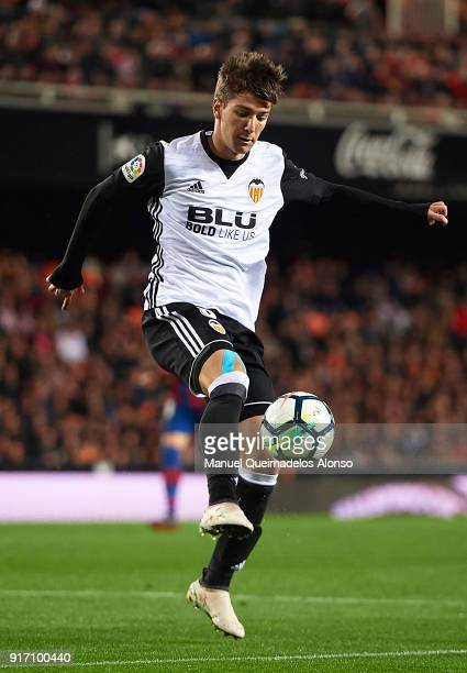Luciano Vietto of Valencia controls the ball during the La Liga match between Valencia and Levante at Mestalla Stadium on February 11 2018 in...