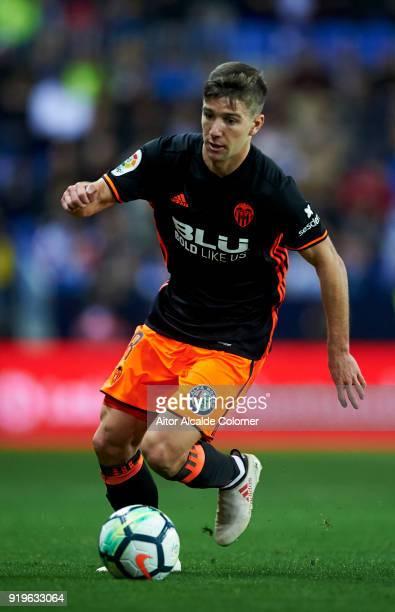 Luciano Vietto of Valencia controls the ball during the La Liga match between Malaga and Valencia at Estadio La Rosaleda on February 17 2018 in...