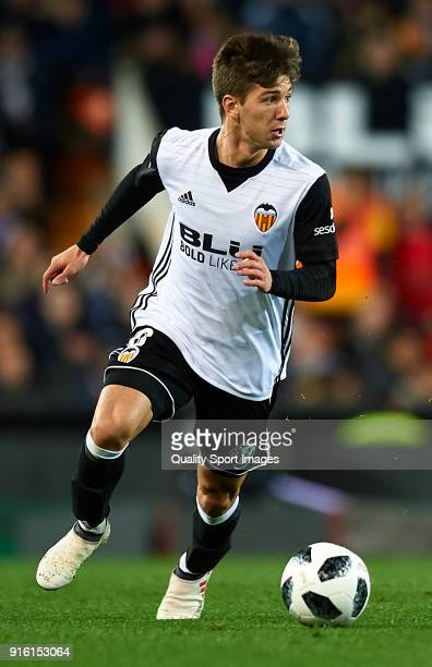 Luciano Vietto of Valencia drives the ball during the Copa del Rey semifinal second leg match between Valencia and Barcelona at Mestalla Stadium on...
