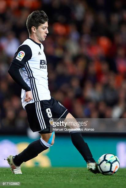 Luciano Vietto of Valencia in action during the La Liga match between Valencia and Levante at Mestalla Stadium on February 11 2018 in Valencia Spain
