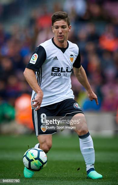 Luciano Vietto of Valencia in action during the La Liga match between Barcelona and Valencia at Camp Nou on April 14 2018 in Barcelona Spain