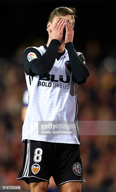 Luciano Vietto of Valencia reacts during the Copa del Rey semifinal second leg match between Valencia and Barcelona at Mestalla Stadium on February 8...