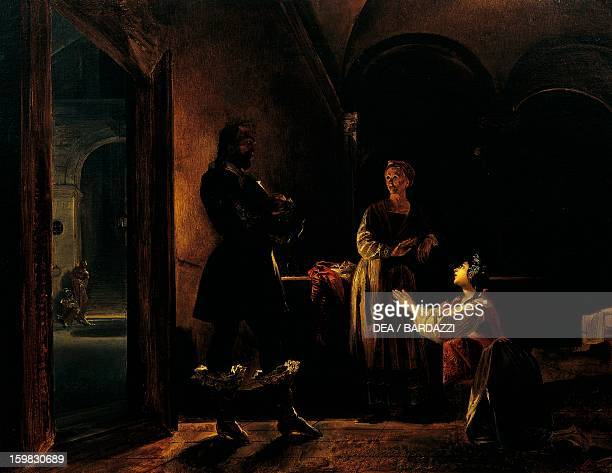 Lucia's meeting with Don Rodrigo scene from The Betrothed by Alessandro Manzoni ca 1837 by Nicola Cianfanelli fresco Palazzina della Meridiana...