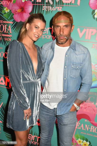 Lucie and Sebastien Jondeau from Chanel attend the Akon Live Performance Party at VIP Room SaintTropez on August 15 2018 in SaintTropez France