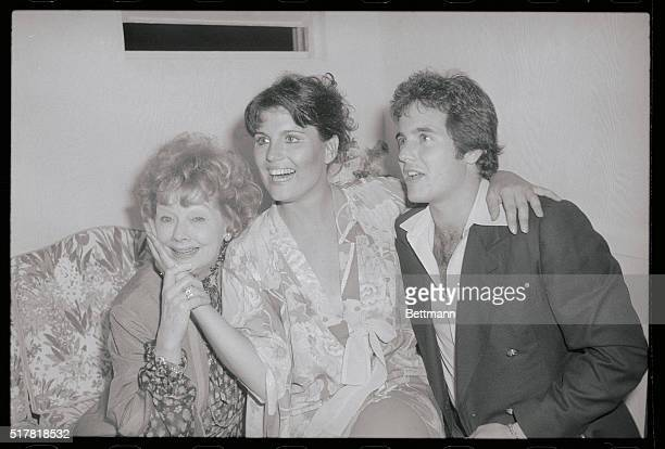 Lucie Arnaz is flanked by her mother Lucille Ball and her brother Desi Arnaz Jr backstage at the Jones Beach Theater following her performance in the...