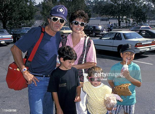 Lucie Arnaz Laurence Luckinbill and children during Hollywood All Star Charity Baseball Game August 26 1989 at Dodgers Stadium in Los Angeles...