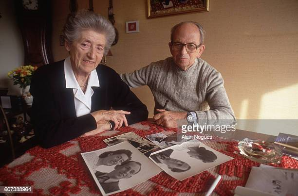Lucie Aubrac and her husband French Resistance leader Raymond Aubrac at home after Raymond's 1991 trial he was accused of betraying Jean Moulin The...