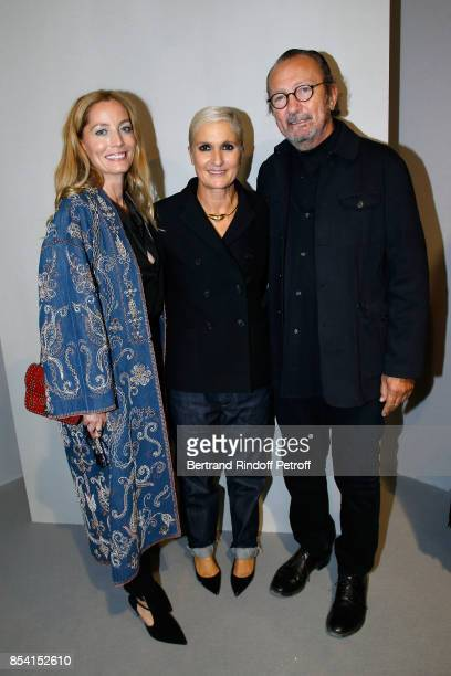 Lucie De La Falaise stylist Maria Grazia Chiuri and Paolo Roversi pose backstage after the Christian Dior show as part of the Paris Fashion Week...
