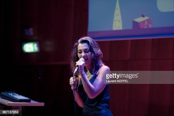 Lucie du groupe LEJ pendant la cérémonie douverture du 6ème 'My French Film Festival' à la Tour Eiffel le 17 janvier 2016 Paris France