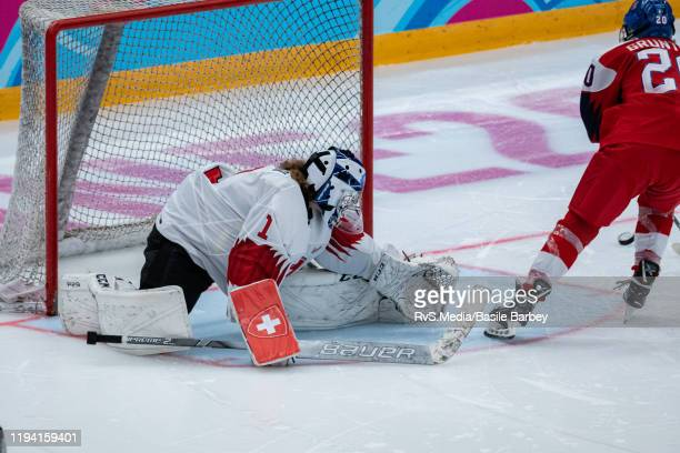 Lucie Gruntova of Czech Republic misses a shoot-out against Goalkeeper Margaux Favre of Switzerland during Women's 6-Team Tournament Preliminary...